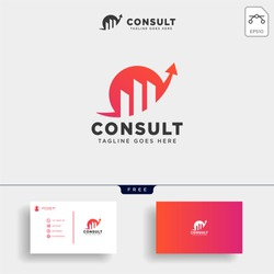 consulting, consult graphic statistic logo template vector illustration