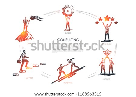 Consulting, expert, experience, success, potential, goal concept vector set