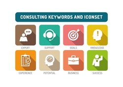 Consulting Flat Icon Set