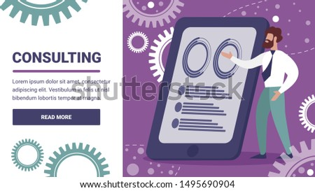 Consulting Horizontal Banner. Business Man, Consultant or Couch Trainer Doing Data Analysis Presentation at Huge Tablet Pc on Background with Gears and Cogwheels. Cartoon Flat Vector Illustration