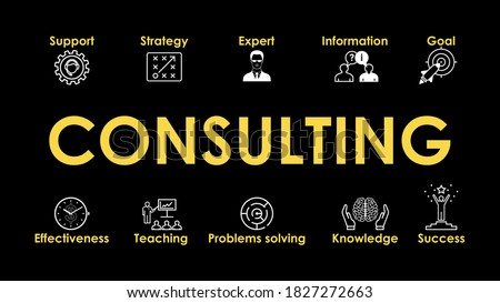 Consulting Illustration with web Icons set for websites and social media business design: Support, Strategy, Expert, Knowledge, Success, Effectiveness. Vector icons set on black background.