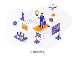 Consulting isometric web banner. Competent business expertise and law assistance isometry concept. Financial audit, accounting services 3d scene design. Vector illustration with people characters.