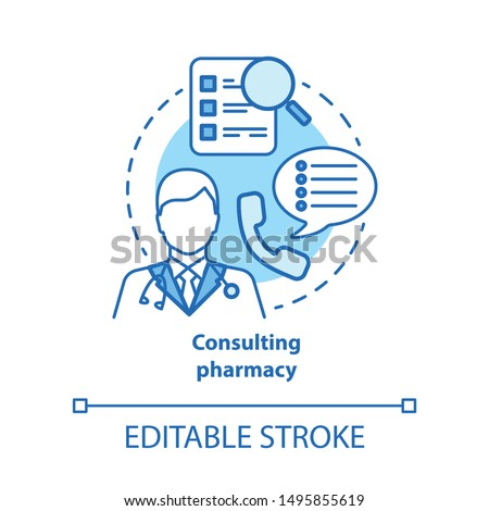 Consulting pharmacy concept icon. Doctor medical consultation idea thin line illustration. Professional pharmacist. Prescription, medicine advice. Vector isolated outline drawing. Editable stroke