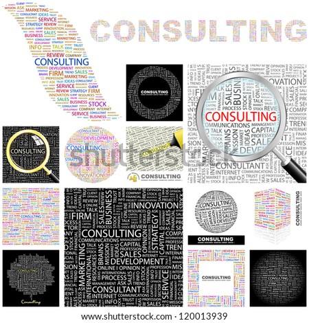 CONSULTING. Word collage. Vector illustration. GREAT COLLECTION.