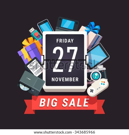 Consumer electronics store sale advert. Black Friday 27 November banner. Flat style vector illustration isolated on black background.