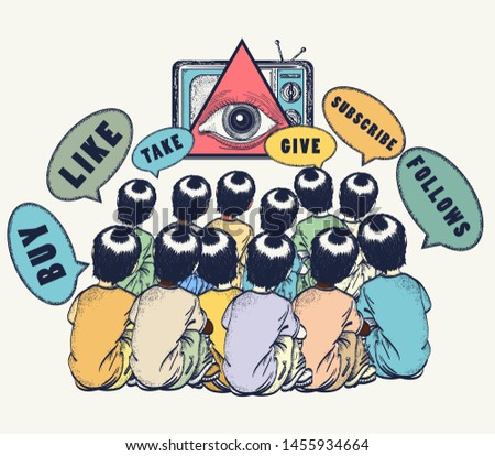 Consumer society.  All seeing eye and people. Symbol of freedom and slavery, globalization, future of mankind, digital world, big brother