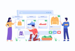 Consumer View, Choose and Buy Fashion Items on Ecommerce Marketplace on Computer Screen Concept Flat Style Design Illustration