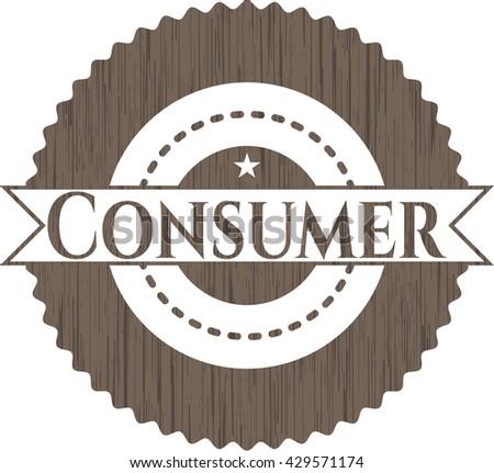 Consumer wooden emblem. Retro