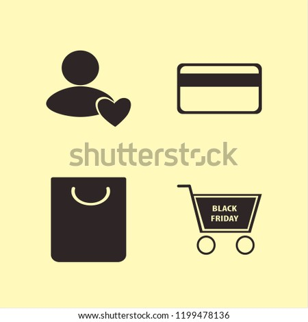 consumerism icon. consumerism vector icons set shopping bag, credit card, user favorite and shopping cart