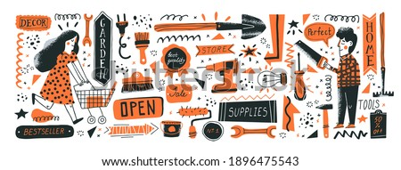 Consumers in DIY store. Banner template. Vector illustration of instruments for home renovation and shop departments in a flat style with hand drawn lettering. Perfect for hardware store ads Foto stock ©