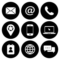 Contact As Flat Icon Solid Style isolated, easy to change colour and size
