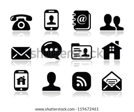 Contact black icons set - mobile, user, email, smartphone, blog, phone