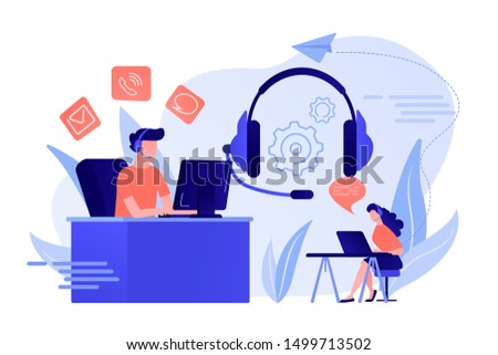Contact center agents with headsets working at computers. Contact center, customer service point, customer relationship management concept. Living coral bluevector isolated illustration