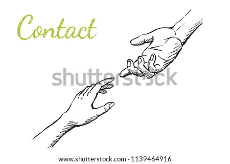Contact - concept atr sketch, vector hand drawn illustration. A woman's hand reaches out to the man's. Foto stock ©