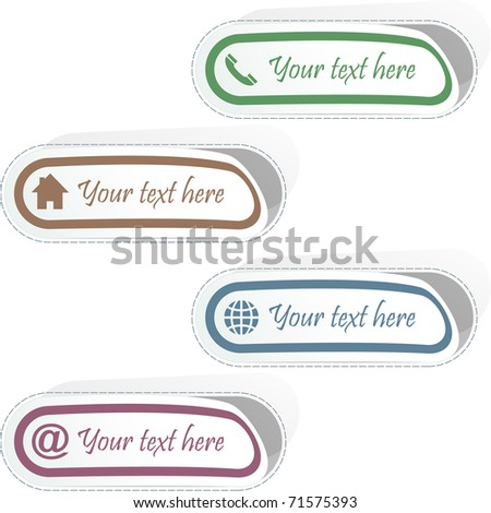 Contact element set for design. Vector illustration.