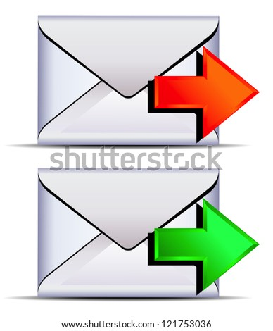 Contact email send - email sent with red and green arrows