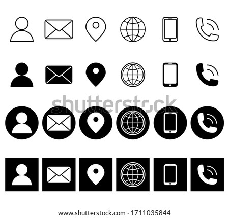 Contact glyph icons. Contact information icons. Contact Us Vector Line Icons Set. Call, Contact, Email, Message and more.