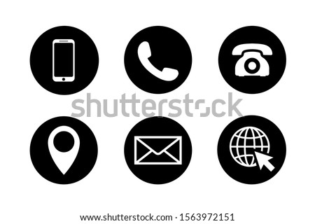 Contact icon set in circles. Phone, mobile phone, retro phone, location, mail and web site symbols in black and white. Simple contact signs in flat style. Vector illustration for graphic design, Web.