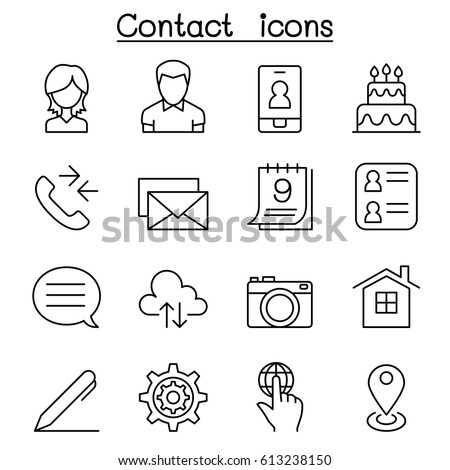 Contact icon set in thin line style