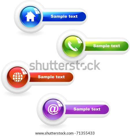 Contact icon set - phone, web, home, support, email, telephone, profile. Web buttons.