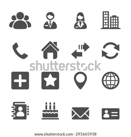 contact icon set, vector eps10.