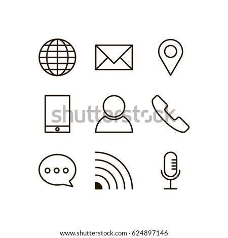 Contact icon set vector line