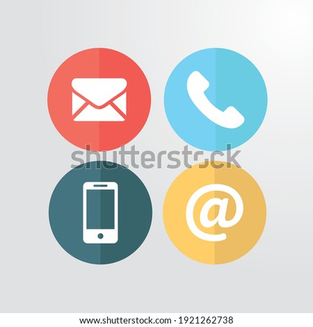 Contact icon set vector objects