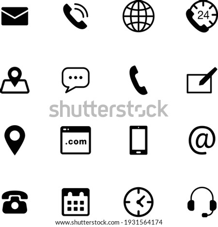 Contact icon vector set pack. chat, message, web, phone, calendar, clock