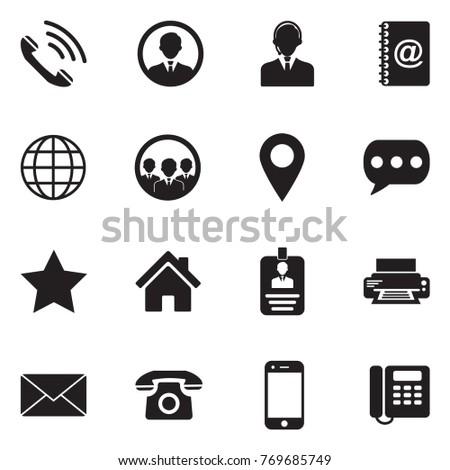 Contact Icons. Black Flat Design. Vector Illustration.