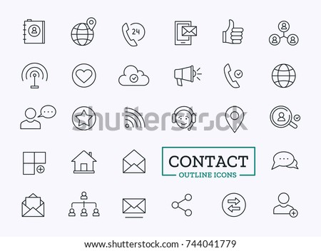 Contact Icons for Web. Vector Outline Communication Social Symbols.