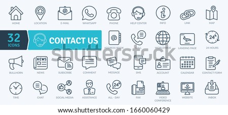 Contact Icons Pack. Thin line icons set. Flaticon collection set. Simple vector icons