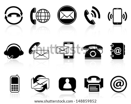 contact icons set - stock vector