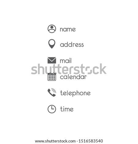 Contact icons set flat vector Photo stock ©