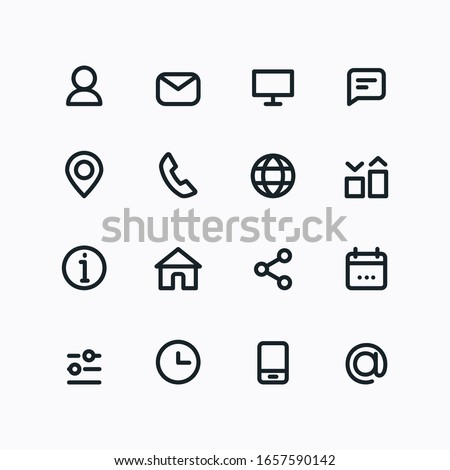 Contact icons. Thin line signs for website