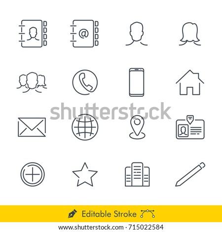 Contact Icons/Vectors Set - In Line/Stroke Design
