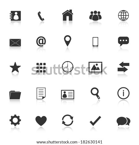 Contact icons with reflect on white background, stock vector