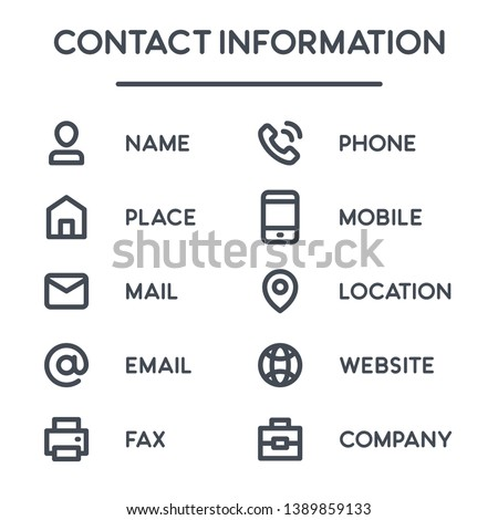 Contact information bold line icons for business card. Info vector symbols and signs.