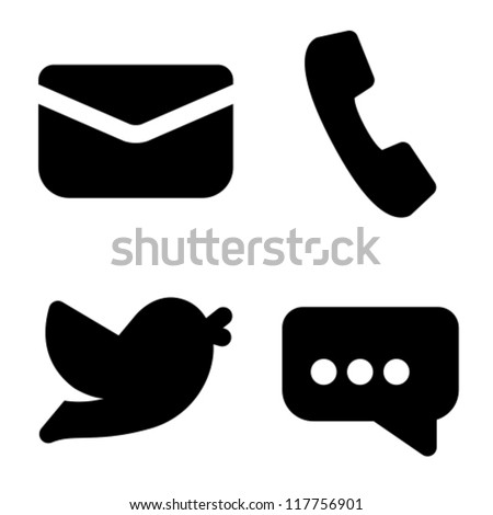 Contact information icons: mail, phone, social network and chat