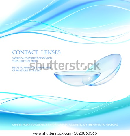 Contact lens concept with water wave flow over blue background and two eye lences. Vector illustration.