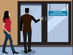 Contact less door or non contact or touch less or contact free or Radio frequency identification door or wave to open door or touch less access or security access control solution