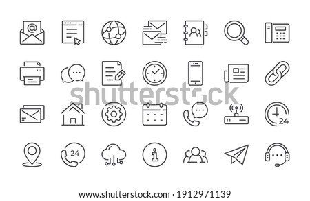 Contact Line Icons. Editable stroke linear icon set for mobile and web. Contains such icons as Chat, Email, Phone, Location, Support. Vector illustration
