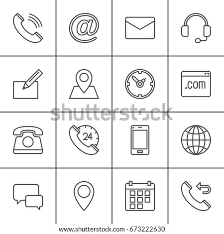 Contact line icons set, outline vector symbol collection, linear pictogram pack. Signs, logo illustration. Set includes map, globe, phone, call, clock, handset, message, email, call back