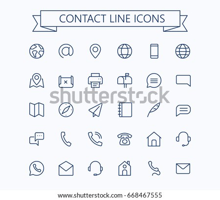 Contact line mini icons.Editable stroke. 24x24 grid. Pixel Perfect.