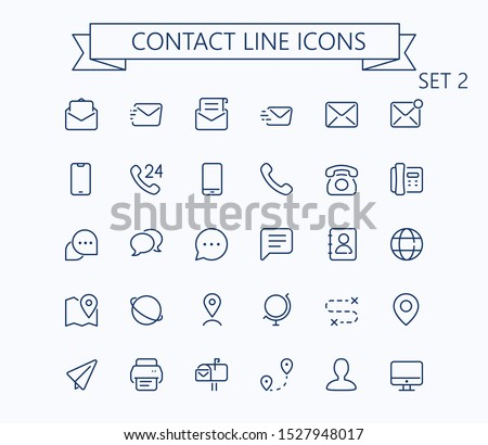 Contact line mini icons set 2. Optimized for 24px, scaled 8x. Pixel Perfect.