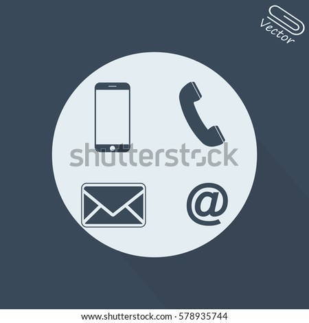 Contact set - email, envelope, phone, mobile icons
