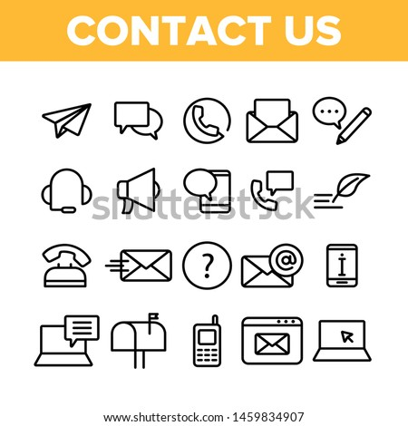 Contact Us, Call Center Vector Linear Icons Set. Customer Support Service, Contact Us Outline Cliparts. Helpline, Phone Tech Desk Pictograms Collection. Mailing And Chatting Thin Line Illustration