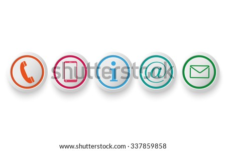 Contact Us circle buttons on the white background. Eps 10 vector file.
