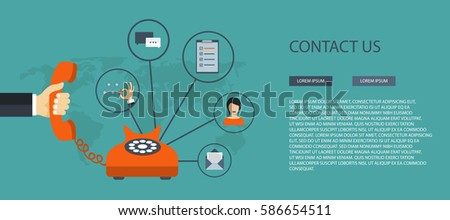 Contact us concept. Business customer care service concept. Icons set of contact us, support, help, phone call and website click. Flat vector illustration.