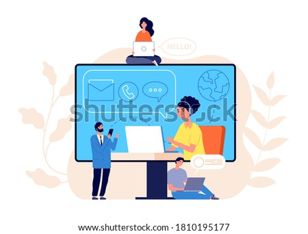Contact us concept. Business website, call center or help line community. Creative people work modern support service vector illustration