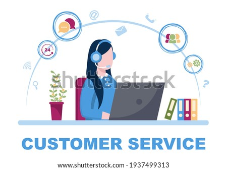 Contact Us Customer Service For Personal Assistant Service, Person Advisor and Social Media Network. Vector Illustration Stockfoto ©